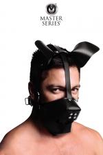 Masque de chien avec baillon boule : Masque de chien en cuir avec museau amovible et  gagged ball intégré, par XR Brands, collection Master Series.