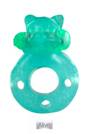 Cockring fluorescent Flash Teddy - Un puissant cockring vibrant qui brille dans le noir.