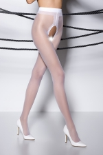 Collants ouverts TI007 - blanc : Collants ouverts en voile blanc 20 deniers.