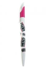 Stylo Jacquie et Michel : stylo à bille blanc et fuchsia  (écriture noire) aux couleurs de la marque Jacquie & Michel.
