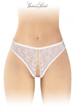 String blanc ouvert Victoria - Fashion Secret : String blanc largement ouvert du pubis au milieu des fesses pour assouvir vos fantasmes érotiques par Fashion Secret