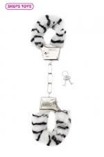 Menottes fourrure Shots - zèbre : Paire de menottes fantaisie qui ferment comme des vraies pour jouer à s'attacher. En métal et fausse fourrure imprimée zèbre.