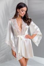 Déshabillé Inoe : Peignoir lingerie avec ceinture écru satiné, bordé de tulle brodé de motifs cachemire blanc et vieux rose.