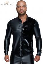 Chemise wetlook et vinyle H064 : Chemise pour homme en powerwetlook et vinyle noirs, le style, rien que le style !
